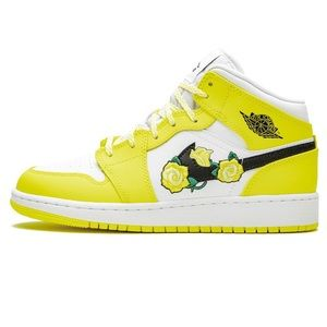 { Nike } Jordan 1 Mid Dynamic Yellow Flower Kids